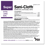PDI SUPER SANI-CLOTH® GERMICIDAL DISPOSABLE WIPE, EXTRA LARGE, INDIVIDUAL #U87295
